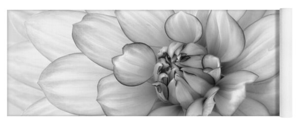 Dahlia Flower Black And White Yoga Mat
