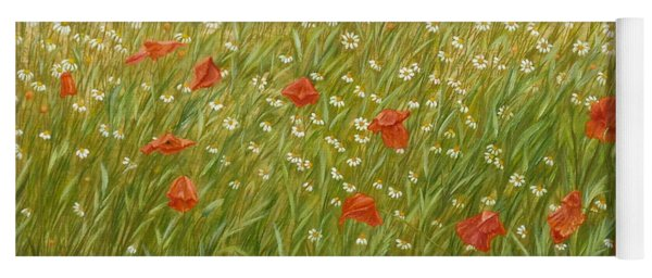 Daisies And Poppies Yoga Mat