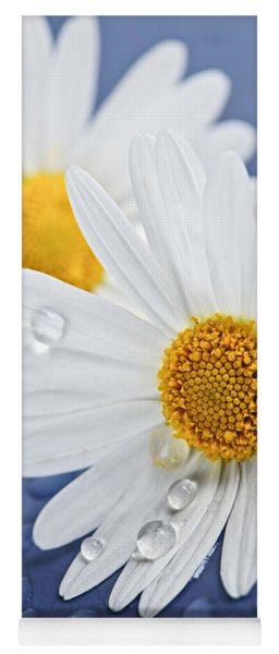 Daisy Flowers With Water Drops Yoga Mat