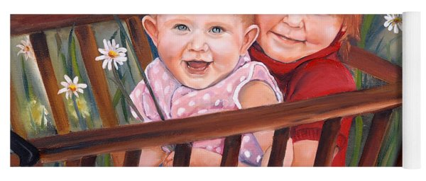 Yoga Mat featuring the painting Daisy - Portrait - Girls In Wagon by Jan Dappen