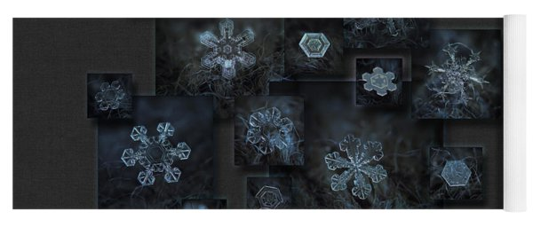 Yoga Mat featuring the photograph Snowflake Collage - Dark Crystals 2012-2014 by Alexey Kljatov