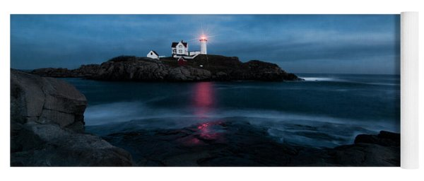 Dark Night At The Nubble Yoga Mat
