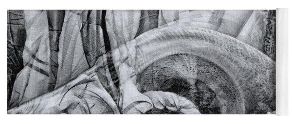 Das Monster Hat Sich Im Ungebuegelten Hintergrund Versteckt Yoga Mat