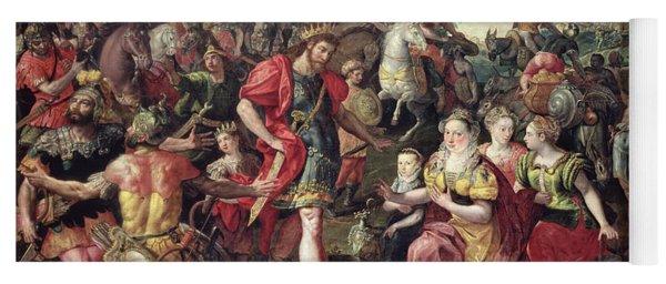 David And Abigail Or Alexander And The Family Of Darius Oil On Panel Yoga Mat