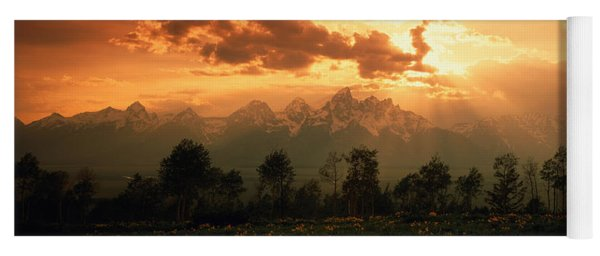 Dawn Teton Range Grand Teton National Yoga Mat