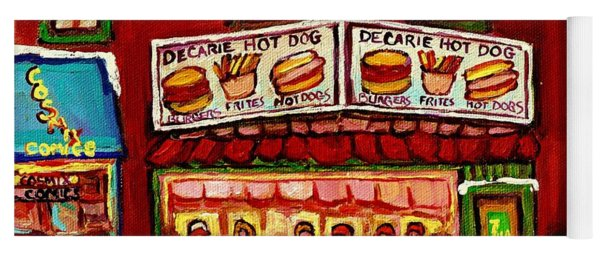 Decarie Hot Dog Restaurant Cosmix Comic Store Montreal Paintings Hockey Art Winter Scenes C Spandau Yoga Mat