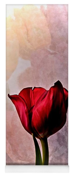 Deep Red Tulip On Pale Tulip Background Yoga Mat