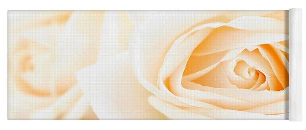 Delicate Beige Roses Yoga Mat