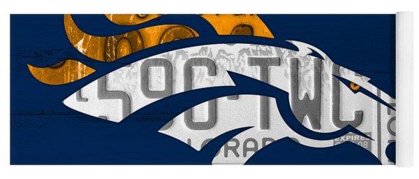 Denver Broncos Football Team Retro Logo Colorado License Plate Art Yoga Mat