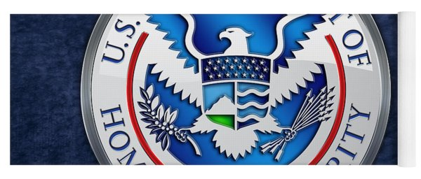 Department Of Homeland Security - D H S Emblem On Blue Velvet Yoga Mat