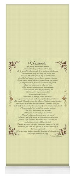 Desiderata Gold Bond Scrolled Yoga Mat