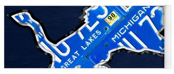 Detroit Lions Football Team Retro Logo License Plate Art Yoga Mat