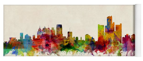 Detroit Michigan Skyline Yoga Mat