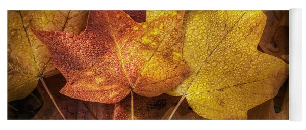 Dew On Autumn Leaves Yoga Mat