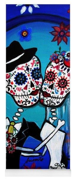 Dia De Los Muertos Kiss The Bride Yoga Mat