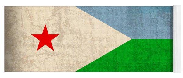 Djibouti Flag Vintage Distressed Finish Yoga Mat
