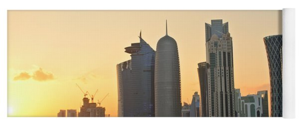 Doha Skyline At Sunset Yoga Mat