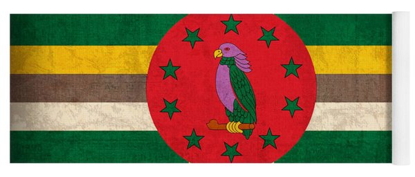 Dominica Flag Vintage Distressed Finish Yoga Mat