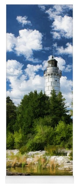 Cana Island Lighthouse Cloudscape In Door County Yoga Mat