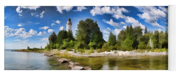 Door County Cana Island Lighthouse Panorama Yoga Mat