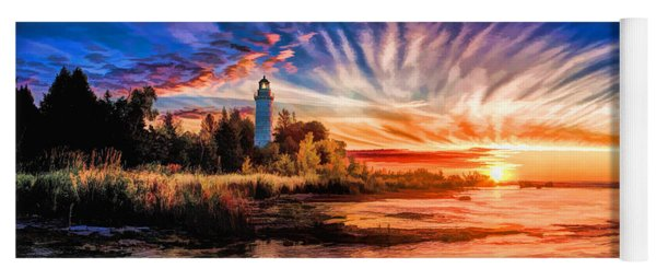 Door County Cana Island Lighthouse Sunrise Panorama Yoga Mat
