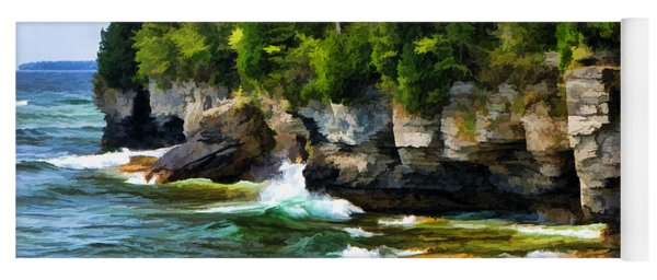 Door County Cave Point Cliffs Yoga Mat
