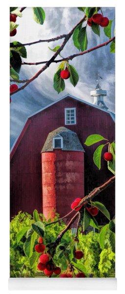 Door County Cherry Harvest Red Barn Yoga Mat