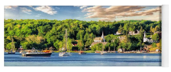 Door County Ephraim Harbor Sunset  Panorama Yoga Mat