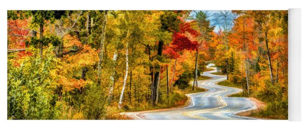 Door County Road To Northport In Autumn Yoga Mat