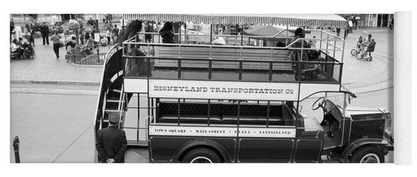 Double Decker Bus Main Street Disneyland Bw Yoga Mat