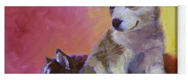 Double Trouble - Alaskan Husky Sled Dog Puppies Yoga Mat