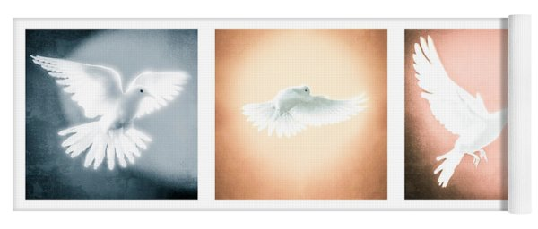 Dove In Flight Triptych Yoga Mat