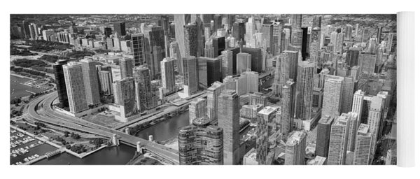 Downtown Chicago Aerial Black And White Yoga Mat