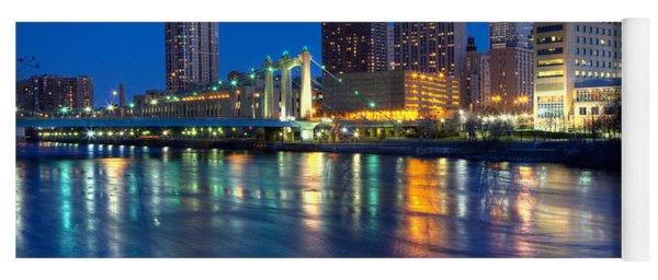 Downtown Minneapolis Skyline Hennepin Avenue Bridge Yoga Mat