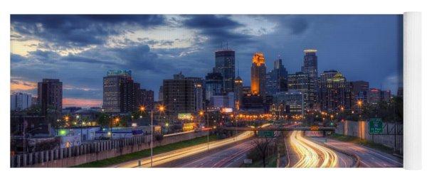 Downtown Minneapolis Skyline On 35 W Sunset Yoga Mat