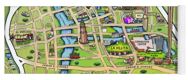 Downtown San Antonio Texas Cartoon Map Yoga Mat
