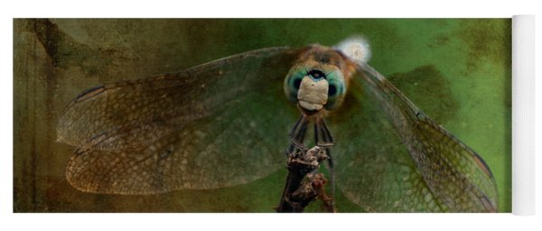 Dragonfly Blue Dasher Antiqued Yoga Mat