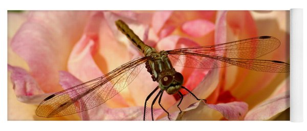 Dragonfly On A Rose Yoga Mat