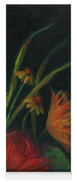 Dramatic Floral Still Life Painting Yoga Mat