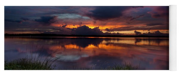 Yoga Mat featuring the photograph Dramatic Sunset At The Lake by Todd Aaron