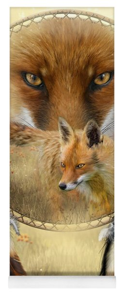 Yoga Mat featuring the painting Dream Catcher- Spirit Of The Red Fox by Carol Cavalaris
