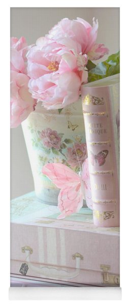 Dreamy Shabby Chic Pink Peonies And Books - Romantic Cottage Peonies Floral Art With Pink Books Yoga Mat