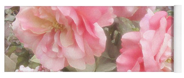 Dreamy Pink Roses, Shabby Chic Pink Roses - Romantic Roses Peonies Floral Decor Yoga Mat