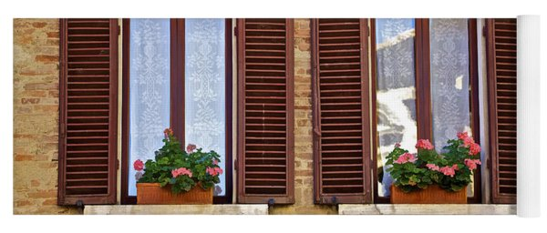 Dueling Windows Of Tuscany Yoga Mat