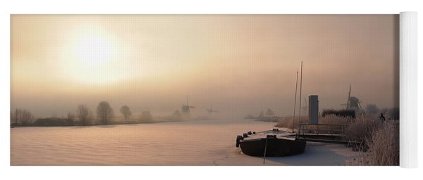 Dutch Winter Sunrise With A Boat Yoga Mat