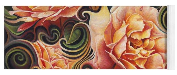 Dynamic Floral V  Roses Yoga Mat