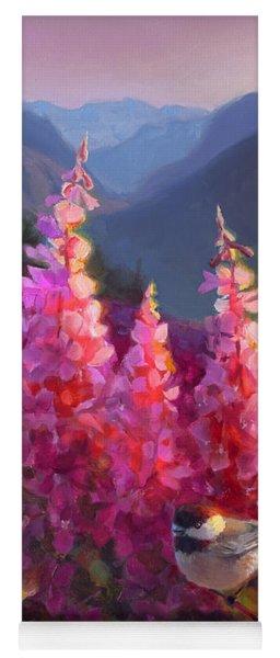 Eagle River Summer Chickadee And Fireweed Alaskan Landscape Yoga Mat