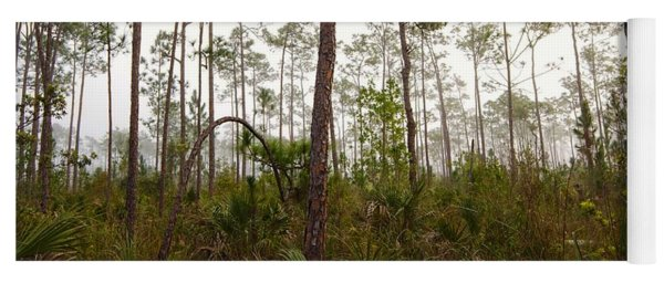 Early Morning Fog Pine Land Yoga Mat