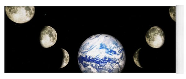 Earth And Phases Of The Moon Yoga Mat