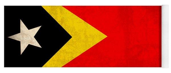 East Timor Flag Vintage Distressed Finish Yoga Mat